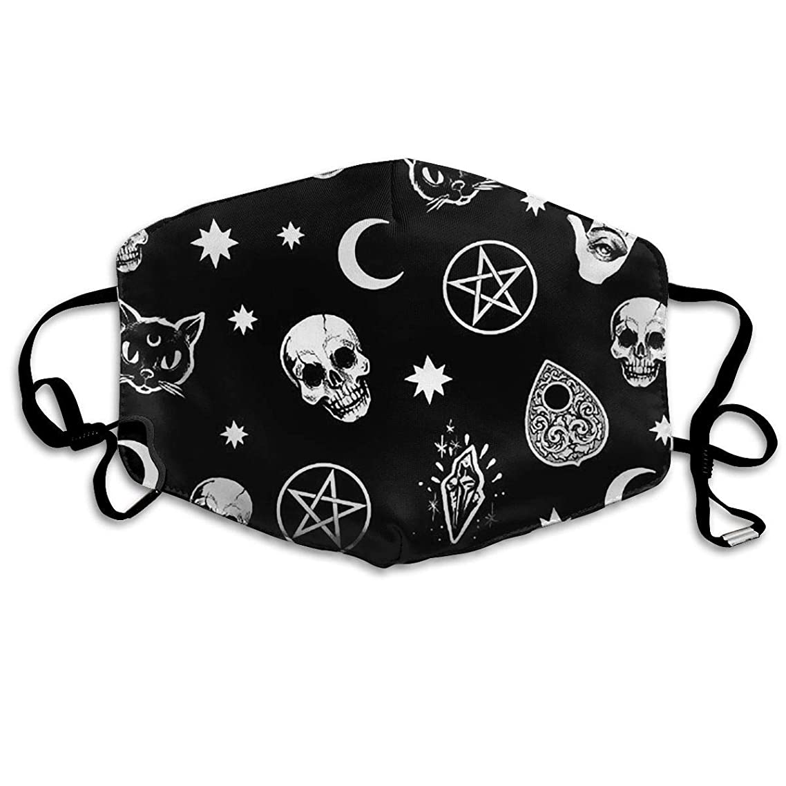 Anti-Allergies Flu Dust Face Mask, Earloop Half Face Mask for Women Men, Ski Cycling Mouth-Muffle with Adjustable Elastic Band - Skull Cat Moon Gothic Pattern Black Washable Mask