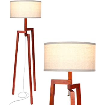Brightech New Mia LED Tripod Floor Lamp– Modern Design Wood Mid Century Modern Light for Contemporary Living Rooms- Rustic, Tall Standing Lamp for Bedroom, Office- Havana Brown