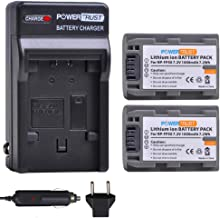 PowerTrust 2-Pack NP-FP50 Battery and Charger Kits for Sony NP-FP30 NP-FP60 NP-FP70 NP-FP71 NP-FP90 DCR-HC20 DCR-HC21 DCR-HC22 DCR-HC23 DCR-HC24 DCR-HC26 DCR-HC30 Camcorder Batteries
