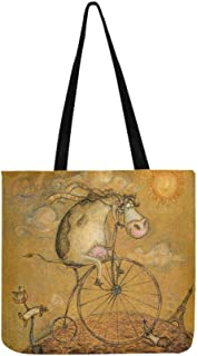 Vintage Cute Cow On The Bicycle Pattern Canvas Tote Handbag Shoulder Bag Crossbody Bags Purses For Men And Women Shopping Tote