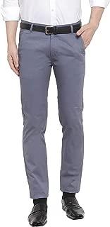 Hancock Bluish Grey Solid Pure Cotton Slim Fit Formal Truser