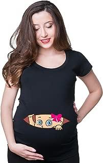 Funny Pregnancy T-Shirt Baby Girl Peeking Maternity Top