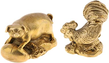 Baosity 2X Solid Brass Animals Statues Figurines Chinese Zodiac Shengxiao Ornaments