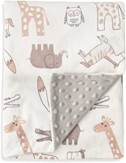 BORITAR Baby Blanket Soft Minky with Double Layer Dotted Backing, Lovely Animals Printed 30 x 40 Inch Receiving Blanket