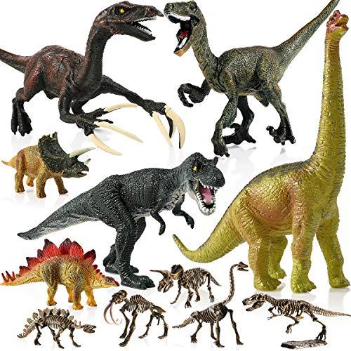 Geyiie Kinder Dinosaurier Figuren Spielzeug 6er Dino Spiele Sets Kunststoff Klein Dinosaurier World Tiere für Kindergeburtstag Party Dekoration Jungen Mädchen Kinder