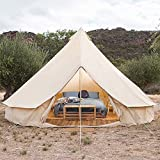 Xi03 Bell Tents for Camping Waterproof Canvas Tent with Stove Hole 4 Seasons Yurt Tent Heavy Duty Sewn in Groundsheet for Camping Hunting