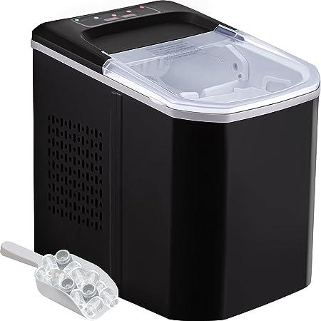 VEVOR Machine à Glaçons 2 Tailles de Glaçons 110W Machine Professionnel Portable Réservoir d'Eau Écran LED Silencieuse avec Pelle à Glace Panier (Noir)