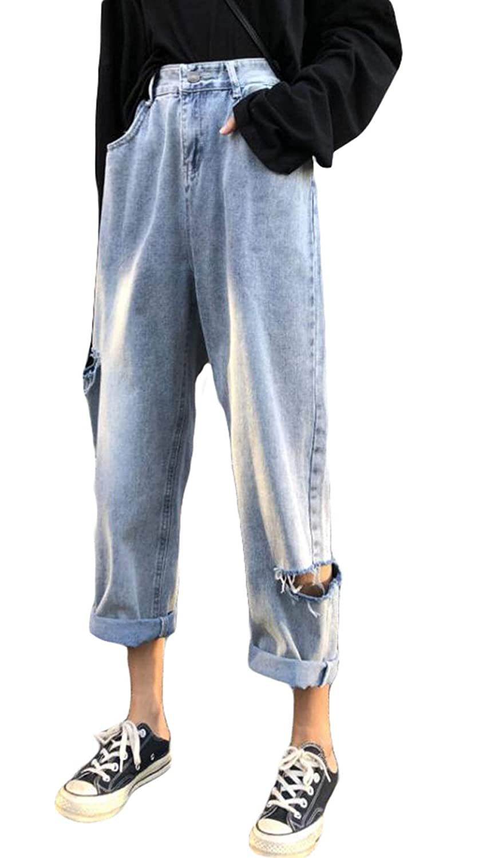 MLbossデニムパンツ レディース ゆったり ロングパンツ ダメージ加工 ジーンズ ハイウエスト クラッシュパンツ ファッション