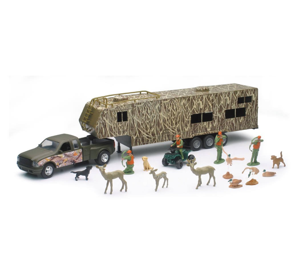 Fishing Play Set New-Ray Toys Wild Hunting Pickup Diecast w//Trailer Camping