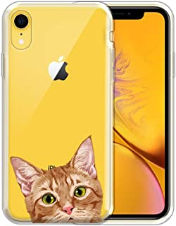 FINCIBO Case Compatible with Apple iPhone XR 6.1 inch, Clear Transparent TPU Silicone Protector Case Cover Soft Gel Skin for iPhone XR - Orange Tabby Kitten Cat