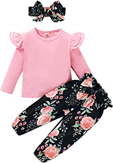 Toddler Girl Clothes Baby Short Sleeve Ruffle Tops Floral Bow Shorts + Headband 3PCS Girl Outfits