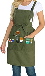 Artist Apron Smocks for Women and Men Canvas Apron with 10 Pockets Adjustable Painting Apron for Painter Artists Gardening Crafts Art Supplies for Adults