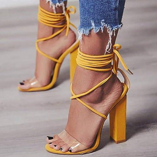 Talons Hauts Sandales Femmes Pompes PVC Transparent Femmes Talons Chaussures De Mode Femmes Décontracté étanche Sandalia Feminina,jaune,42