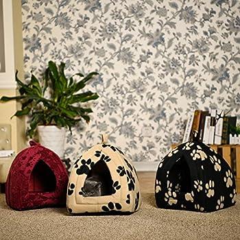 OHANA Maison Niche pour Chien Chat avec Coussin Amovible, Dôme Chat Pliable et Confortable 40 * 32 * 32cm Noir