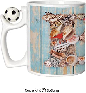 Letter B Sports Football Mug,Alphabet ABC Ocean Theme Elements Starfish Seashell Pale Color Ceramic Coffee Cup,Pale Blue Ivory Dark Coral,Great Novelty Gift for Kids & Audlt