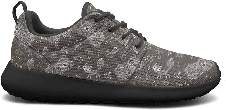 Gjsonmv Cute Bear Fox Deer Rabbit Forest Animals mesh Lightweight shoes for Women Non Slip Sports Basketball Sneakers shoes