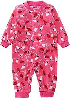 Baby Long Sleeve Full Printing Snap-up Fleece Footless Romper Pajamas Sleep and Play 3-24 Months