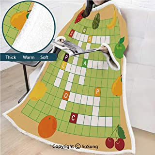 Word Search Puzzle Premium Sherpa Deluxe Fleece Blanket with Sleeves,Vivid Graphic Summer Fruits with Educational Crossword Game for Kids Decorative Throws Wrap Robe Blanket for Adult Women,Men,Multic