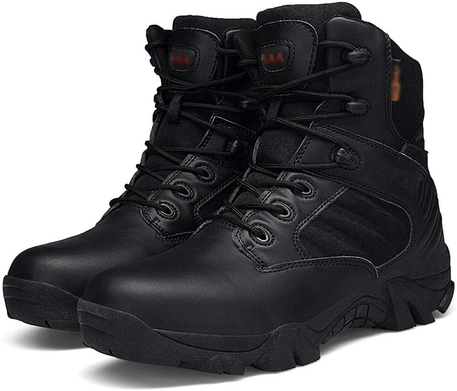 QIKAI Tactical Boots Zip Fashion Leather Velvet Comfortable Non-Slip Wear-Resistant Shock-Absorbing Combat Hiking Boots