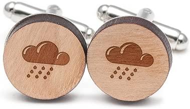 Wooden Accessories Company Rain Cloud Cufflinks, Wood Cufflinks Hand Made in The USA