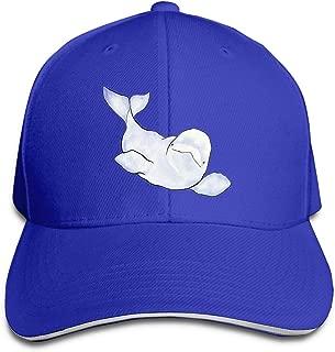 ONE-HEARTHR Adult Beluga Wave Cotton Lightweight Adjustable Peaked Baseball Cap Sandwich Hat Men Women