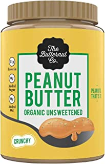 The Butternut Co. Peanut Butter Organic Unsweetened, Crunchy 925 gm (No Added Sugar, Vegan, High Protein, Keto)