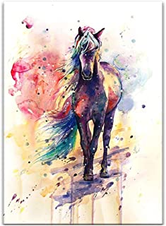 Canvas Wall Art, Watercolor Horse Decorative Oil Painting, Modern Home Decoration Living Room Office Kitchen Artwork, No F...