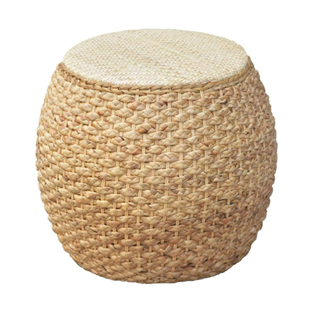 Home Dining Stool/Rattan Footstool, Simple Round Coffee Table Stool Rustic Style Pouf, Suitable for Living Room, Courtyard, Bedroom
