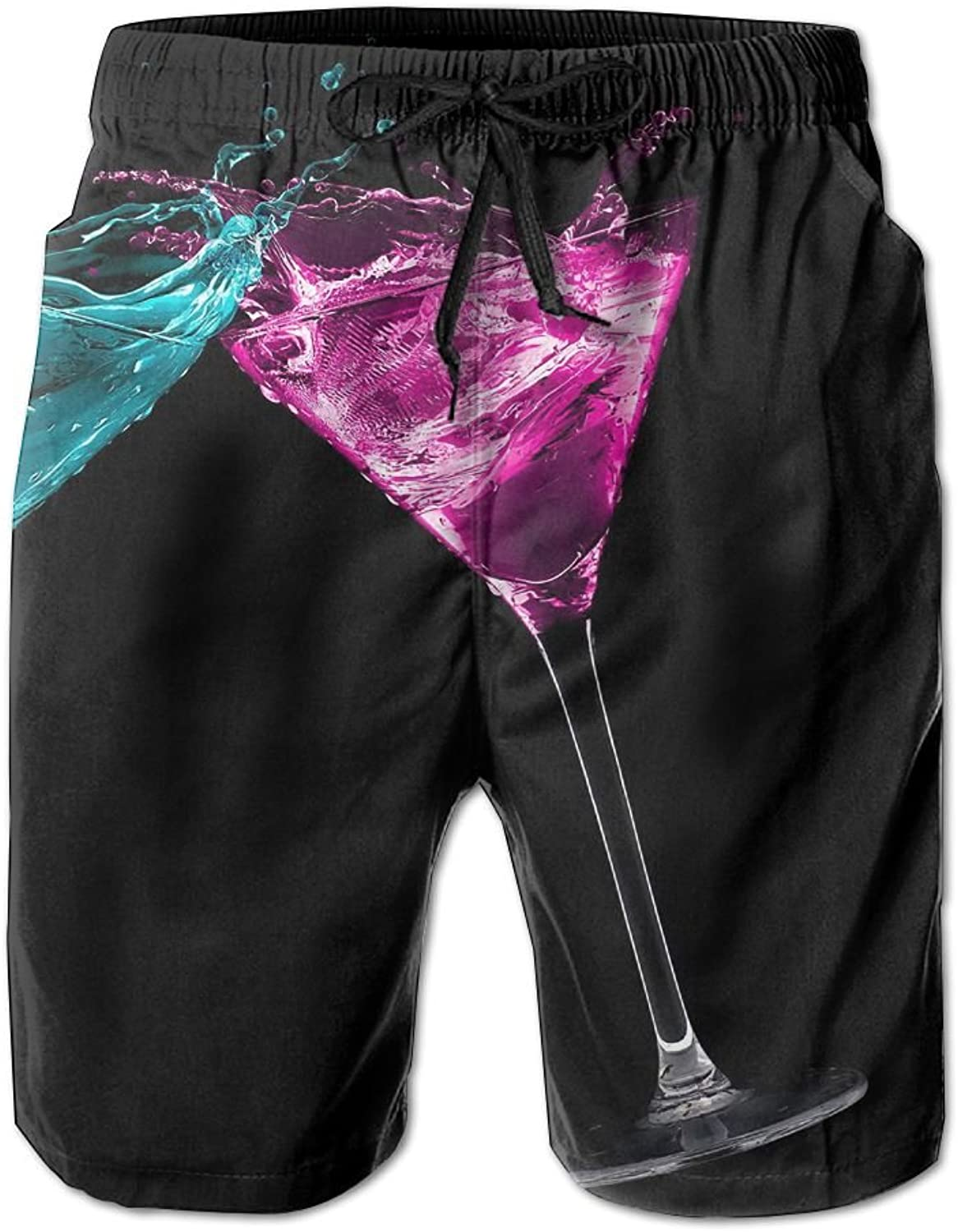 - Tydo bluee Pink Cocktail Men's Beach Beach Beach Shorts Casual Surfing Trunks Surf Board Pants With Pockets For Men f4e42c