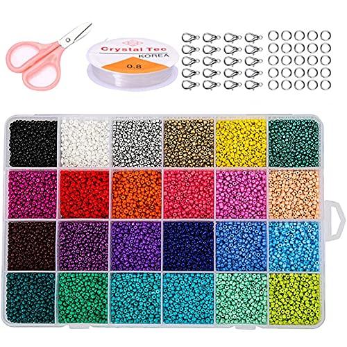 Mini perlas de cristal, 14400 unidades de cadenas, perlas de cristal, 24 colores, para manualidades, joyas, pulsera regalo para niñas