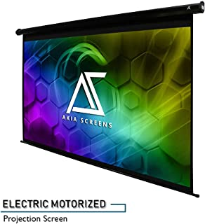 Akia Screens 110 inch Motorized Electric Projector Screen 16:9 8K 4K Ultra HD 3D Ready Wall Ceiling Mounted 12V Trigger Remote Control Black Projection Screen for Movie Home Theater AK-MOTORIZE110H1