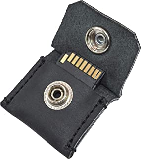 Rustic Leather Switch Cartridge Game Keychain/SD Card/Guitar Pick Holder Handmade by Hide & Drink :: Charcoal Black