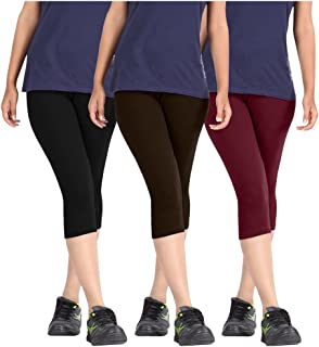 Pixie Capri Leggings | 3/4th | Pants | Combo Pack of 3 for Women/Girls/Ladies (Black, Dark Brown and Maroon) - Free Size