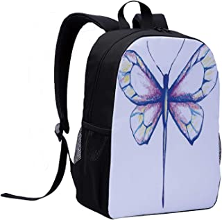 Dragonfly Children's Backpack,Single Dragonfly Featured in Soft Color Fast Long Bodied Predatory Insect Theme for Travel,12″L x 5″W x 17″H