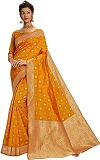 الأصفر الهندي/باكستاني المرأة الرسمية الاحتفالية ملابس جاكار الحرير ساري مع تصميم جديد 6054