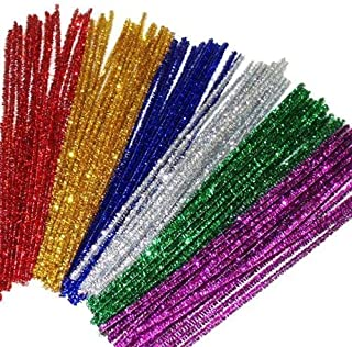 jijAcraft 240 Pcs Glitter Pipe Cleaners 12 Colors Colored Tinsel Chenille Stems Metallic Pipe Cleaner for DIY Crafts,Arts,Wedding,Home,Party,Holiday Decoration(6 mm x 12 Inch)