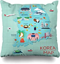 Pandarllin Throw Pillow Cover Korean South Traveling Korea by Landmrks Map Seoul Travel Busan Pyeongchang Design Cushion Case Home Decor Design Square Size 20 x 20 Inches Pillowcase