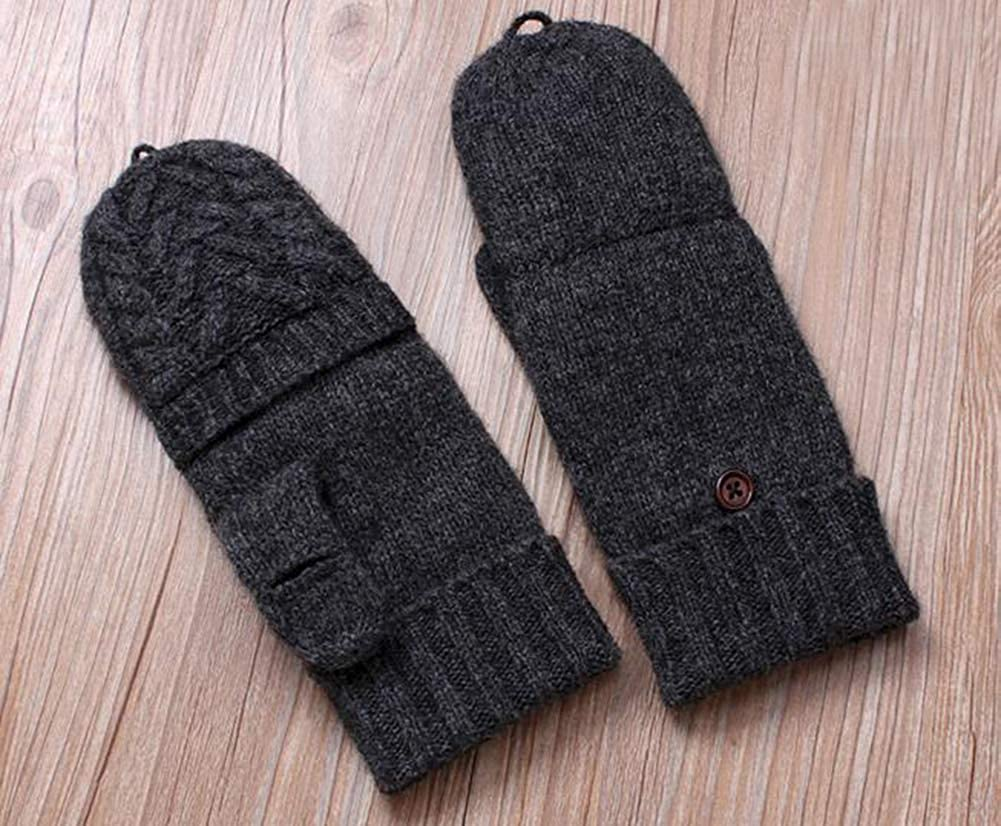 Men Winter Knitted Convertible Gloves Warm Cold Weather Men Knitted Gloves with Flap Cover Wool Knit Fingerless Winter Gloves