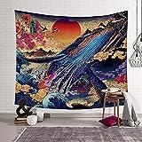 KHKJ Ukiyoe Ocean Wave Wal Wandteppich Kopfteil Wandkunst Tagesdecke Wohnheim Wandteppich für Wohnzimmer Schlafzimmer Wohnkultur A1 150x130cm130