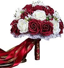 Le yi Wang You Fleurs Artificielles Mari/ée Bouquet De Mariage pour Les Centres De Table Arrangements Maison Bricolage Jardin D/écoration De Bureau Champagne 18 Pi/èces//Ensemble Blanc Rose