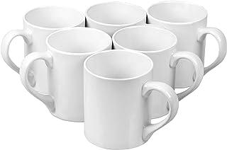 Klikel 6 White Mugs Sleek - 12 oz Solid Flat Bottom Porcelain Dinnerware - Ceramic Mug Set - Coffee Tea Hot Cups - Lead Free