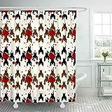 N\A Duschvorhang, Cooler Duschvorhang Außenduschvorhang Hahnentritt Rote Blume Geometrischer Druck in Schwarz Weiß Lustiger Duschvorhang Eleganter Duschvorhang Nebengebäude Duschvorhang
