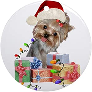 i-zehibho-i Ceramic Round Ornaments - Yorkie Santa I Belive Personalized Custom Handmade Holiday Christmas Ornament Ideas 2019, 2.87