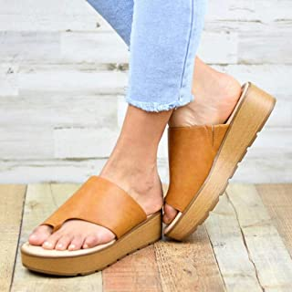 Couples Chaussures de Plage décontractées,Pantoufle d'été à enfiler, sandales en microfibre à talons bas-Marron_38,Sandale...