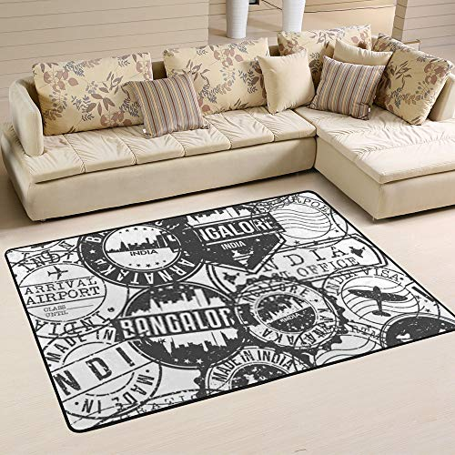 Kuizee Area Rug Bangalore India Stamps Retro Rectangle Oversize Doormat Coral Fleece Living Room Parlour Bedroom Home Decor Carpet 80×58 Inch