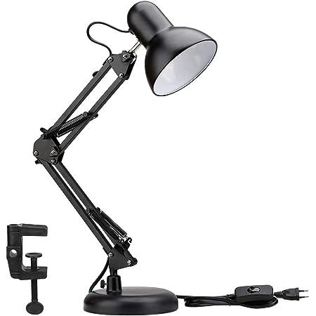 LE Lampe de Bureau Industrielle Socle Solide avec Pince Montage Facile, Lampe de Chevet Articulée 40w Maniable, Lampe de Bureau Métal Vintage, E27 Ampoule Non Incluse
