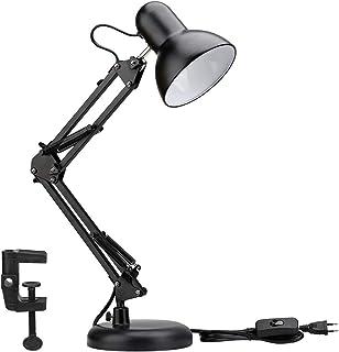 LE Lampe de Bureau Industrielle Socle Solide avec Pince Montage Facile, Lampe de Chevet Articulée 40w Maniable, Lampe de B...