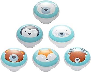 6 Pièces Boutons de Meuble Céramique Enfant Dessin Animé Motif Animaux Ceramique Poignée de Meuble Boutons du Cabinet Bout...