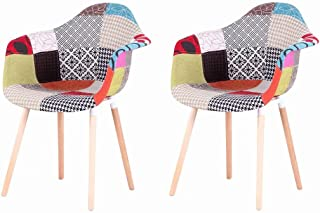 EGOONM Pack 2 sillas de Comedor Patchwork Tela de Lino Butaca, sillas de recepción, Silla de Cocina (Azul-A5)