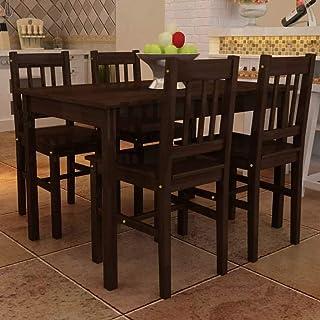 Estink Mesa de comedor con 4 sillas con superficie lisa de madera de pino para cocina, salón, sala de fiesta, 108 x 65 x 73 cm, color marrón
